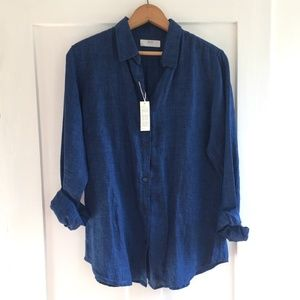 NWT Uniqlo Linen Button Down Top